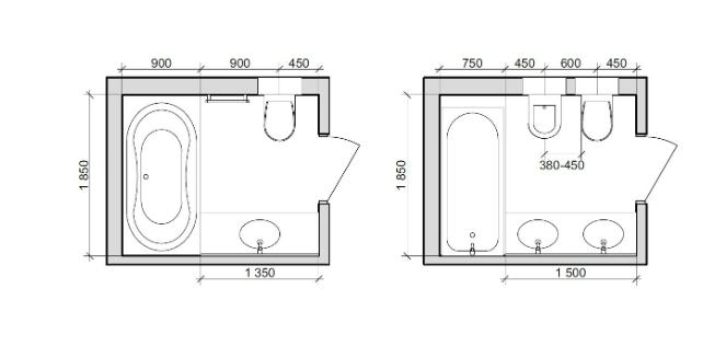 План ванных комнат: расстояние