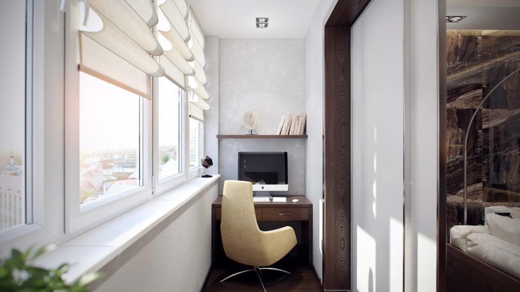 Оформление интерьера домашнего офиса на балконе