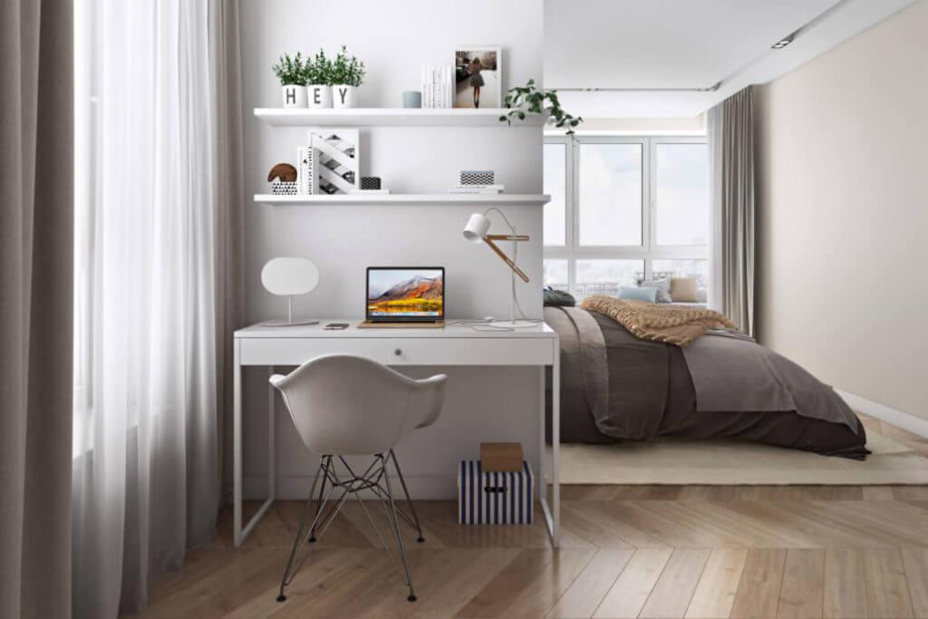 Проект интерьера домашнего кабинета с продуманным освещением