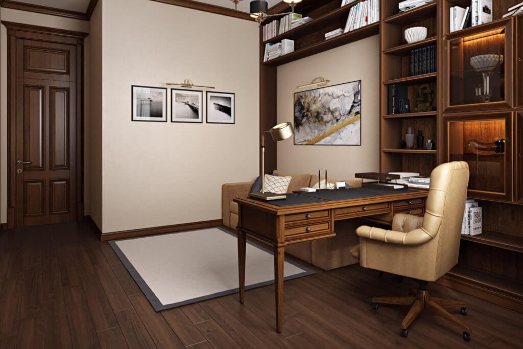 Дизайн интерьера домашнего офиса с библиотекой