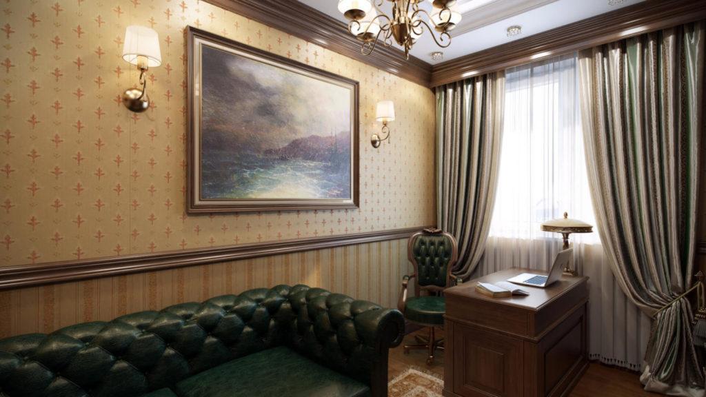 Стильный дизайн интерьера домашнего офиса