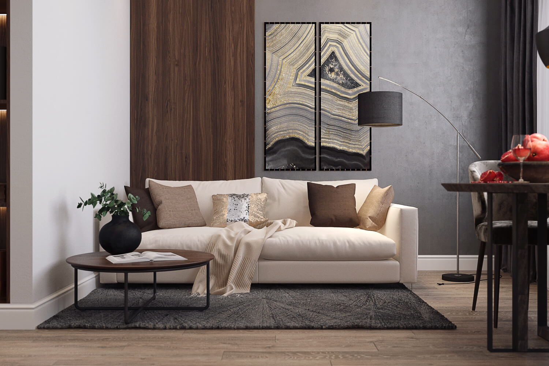 Гостиная-студия в дизайн-проекте двухкомнатной квартиры
