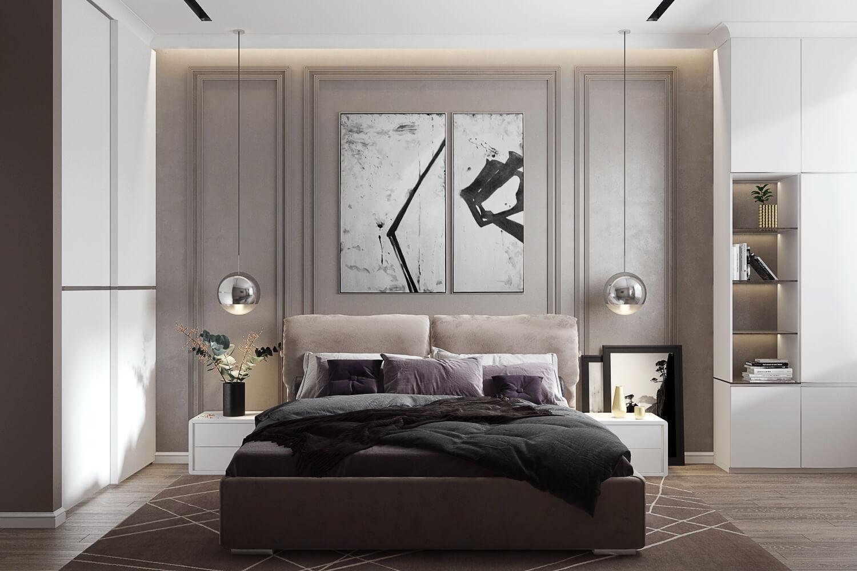 Комфортная спальня в дизайн-проекте двухкомнатной квартиры