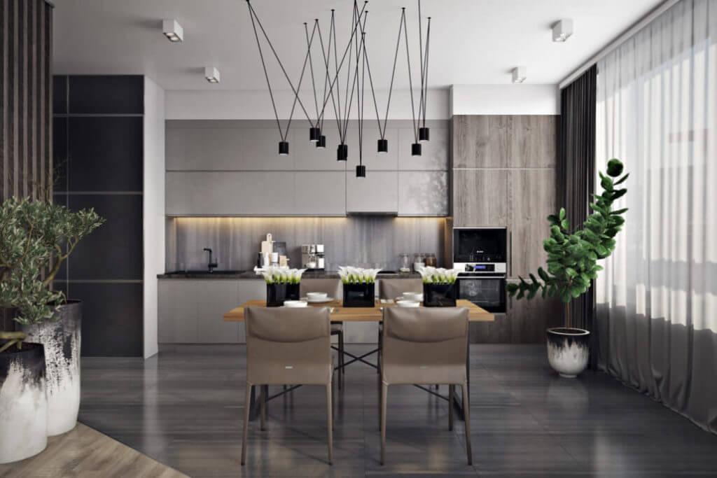 Кухня-студия со стильными и практичными светильниками