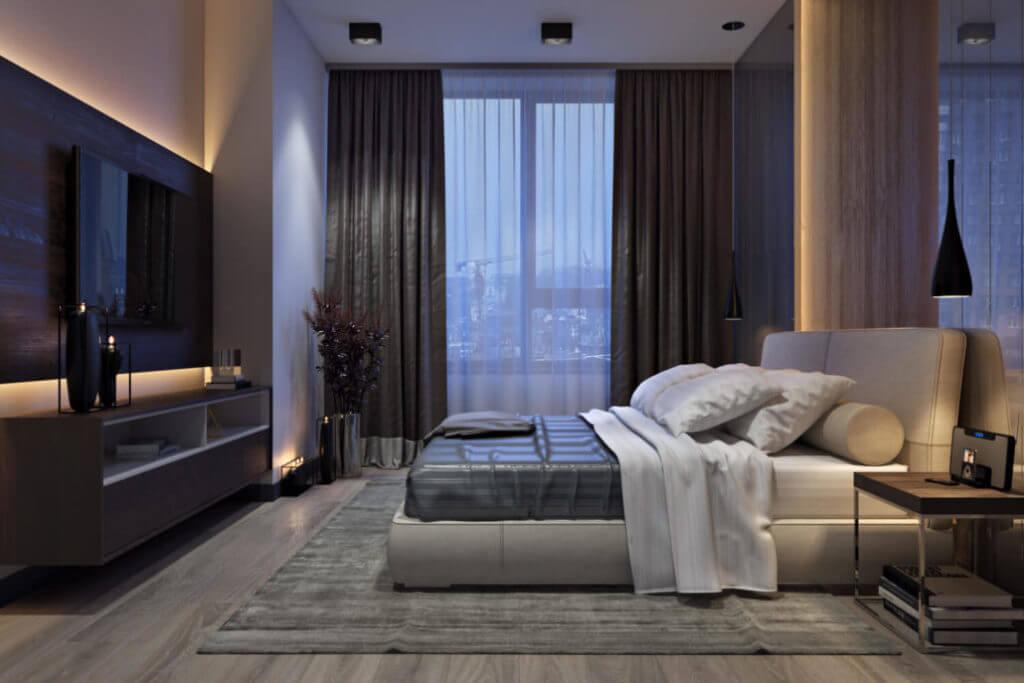 Стильный интерьер спальни с грамотно подобранными светильниками