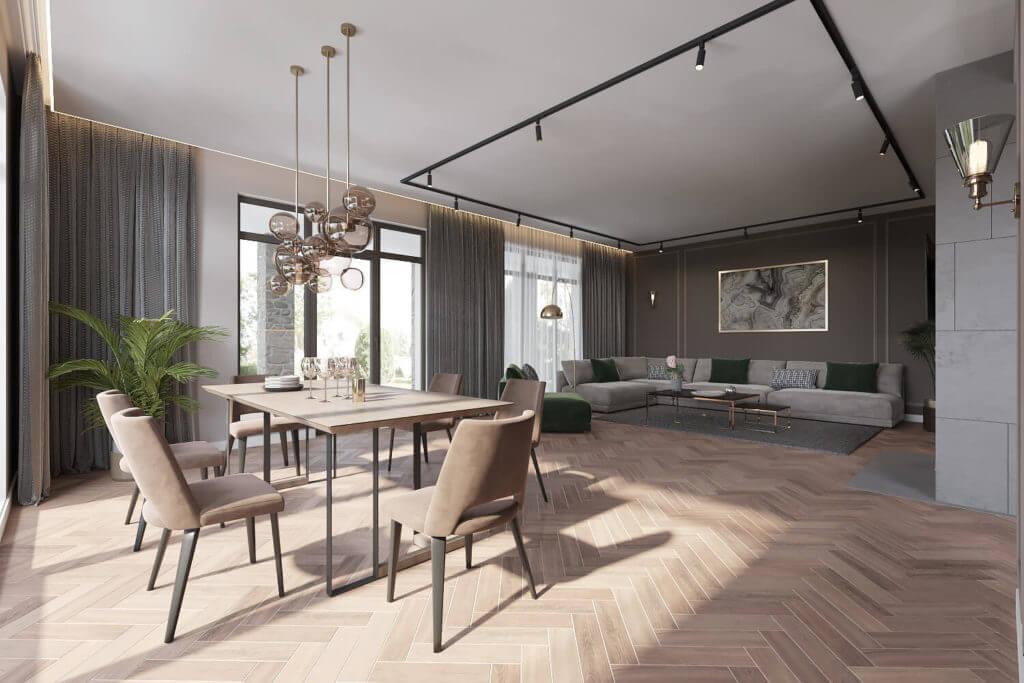 Квартира-студия со светильниками подобранными для каждой функциональной зоны