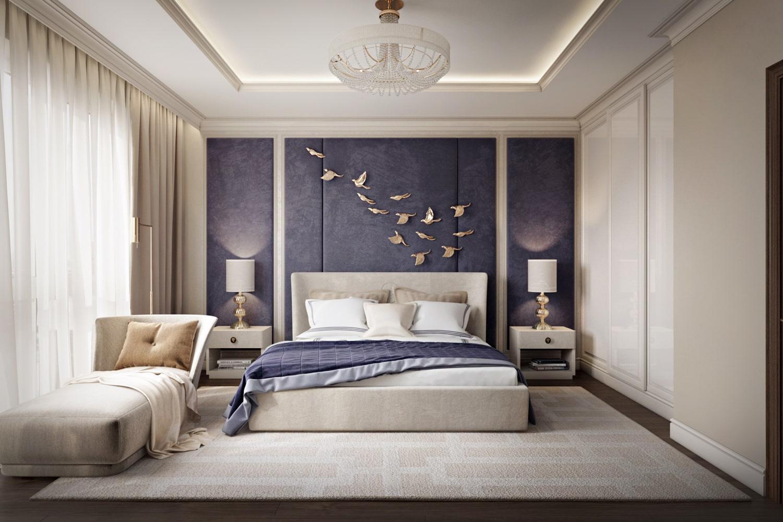 Дизайн интерьера спальни в проекте квартиры