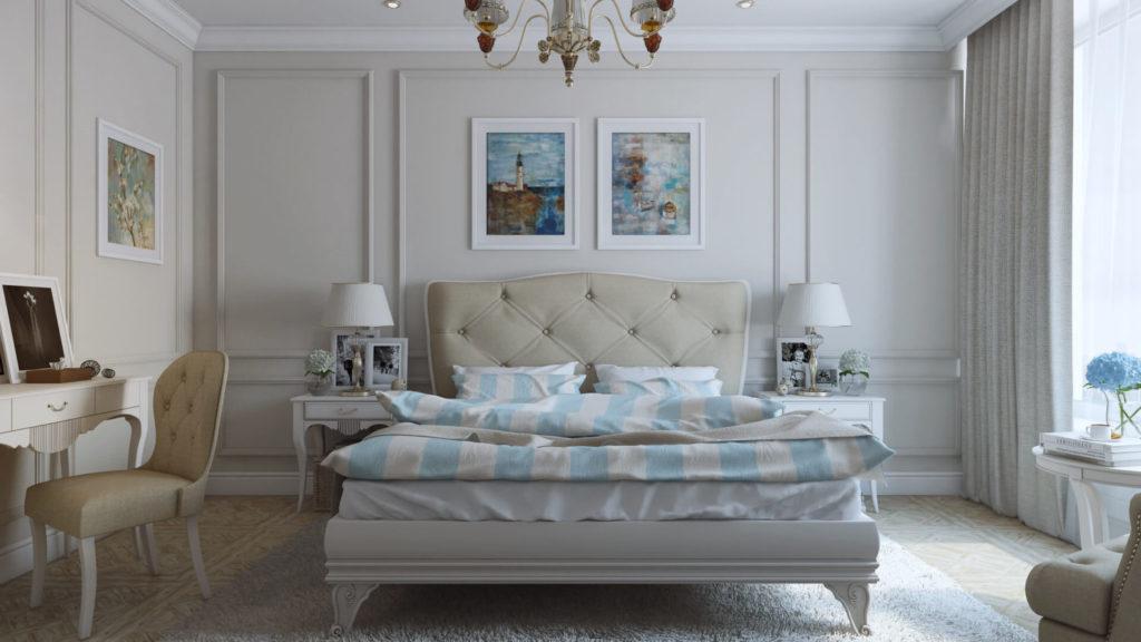 Дизайн спальни с базовым набором качественной мебели