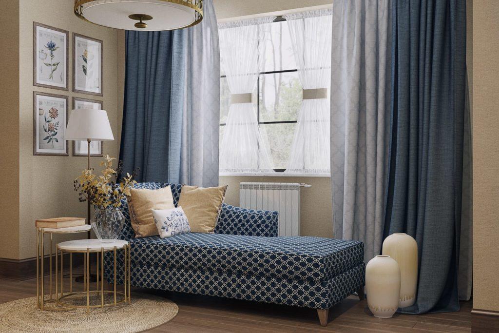 Софа и журнальный столик у окна для комфортной зоны чтения в спальне
