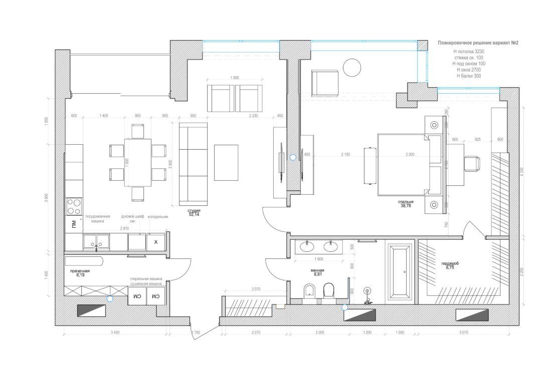 План расстановки мебели в дизайн-проекте интерьера квартиры