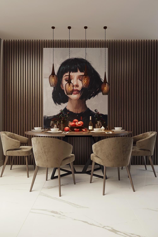 Проект дизайна современной квартиры: столовая