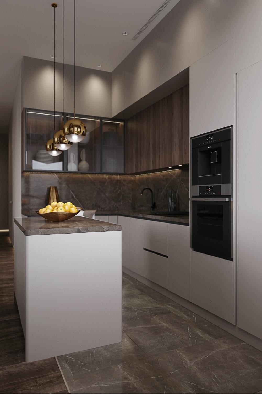 Дизайн стильной кухни в просторной квартире