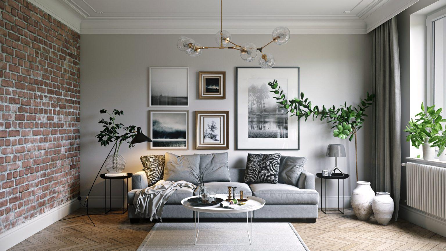 Дизайн жилой комнаты с белыми плинтусами
