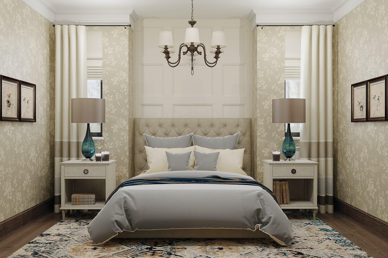 Интерьер спальни с деревянными плинтусами