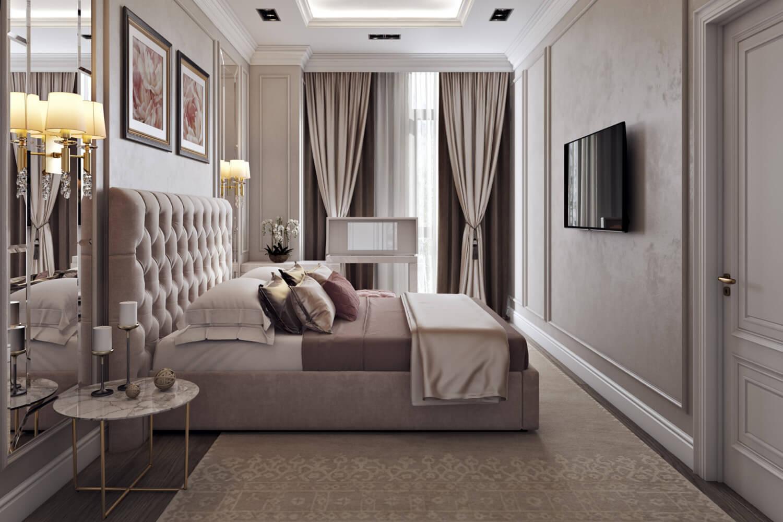 Дизайн спальни со светлыми плинтусами