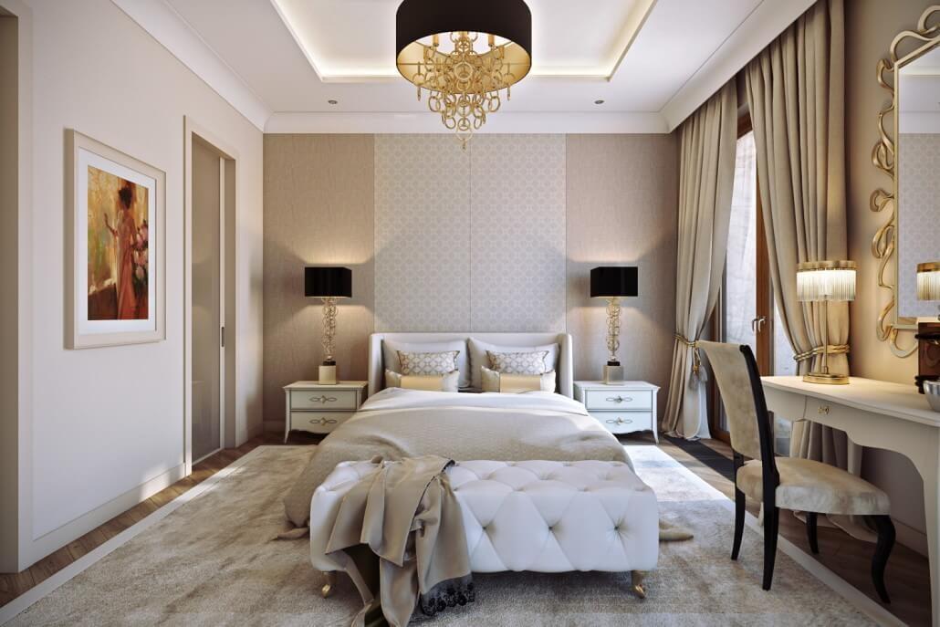 Спальня со стильными плинтусами