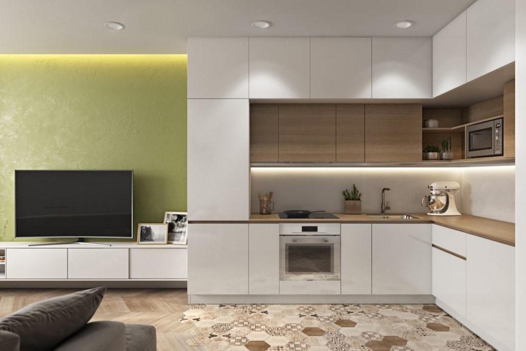Дизайн кухни, совмещенной с комнатой
