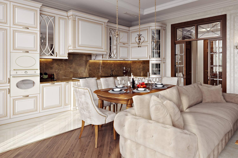Дизайн интерьера большой стильной кухни