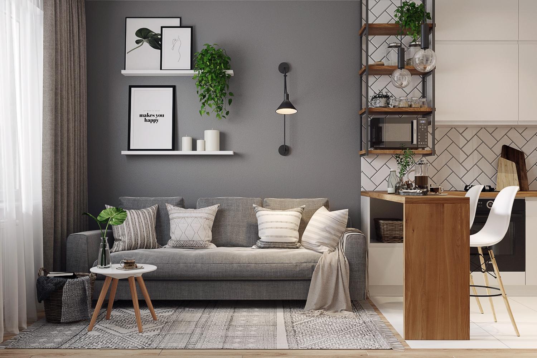Комната с хорошо подобранной электрофурнитурой