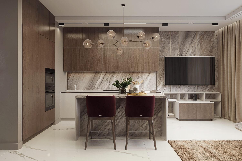 Освещение элегантной кухни