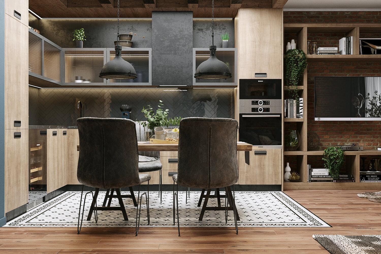 Интерьер таунхауса, выполненный с авторским надзором дизайнера