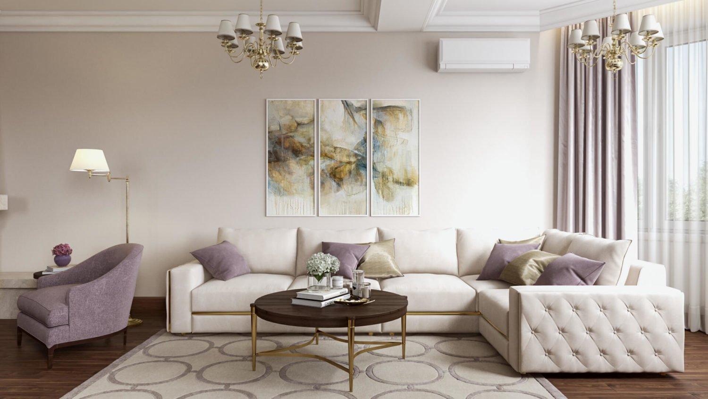 Роскошная комната в стиле неоклассика