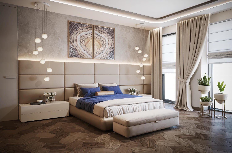 Тканевые панели и картины в дизайне изголовья кровати