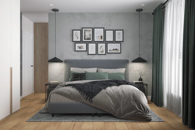 Фото и картины в оформлении изголовья кровати