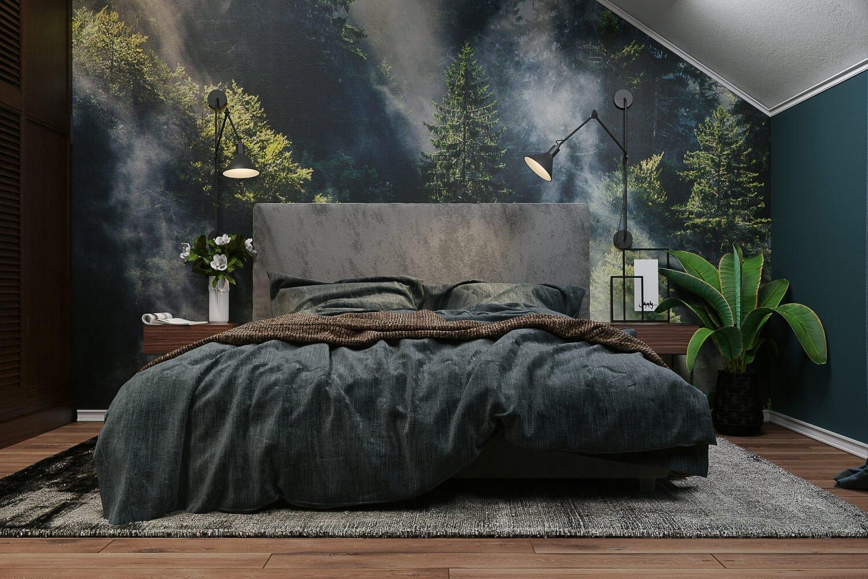 Фотообои в оформлении изголовья кровати