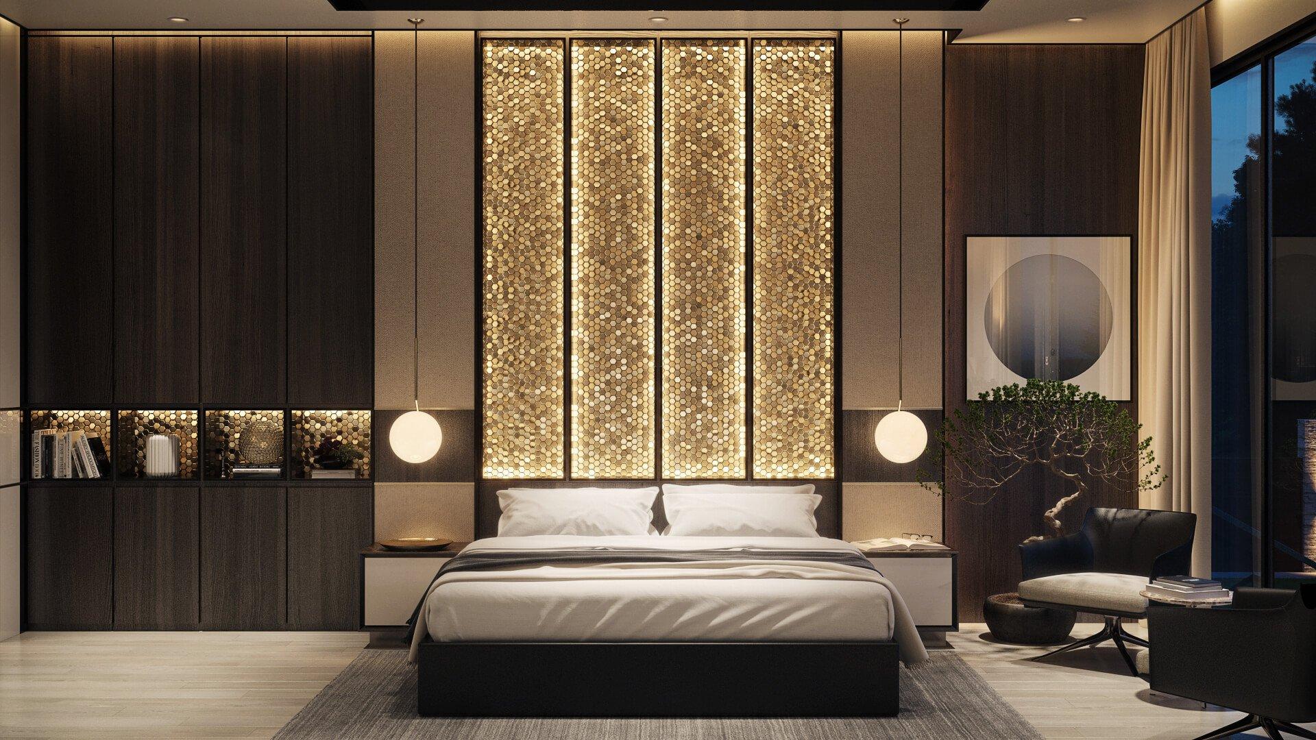Мозаика в оформлении изголовья кровати