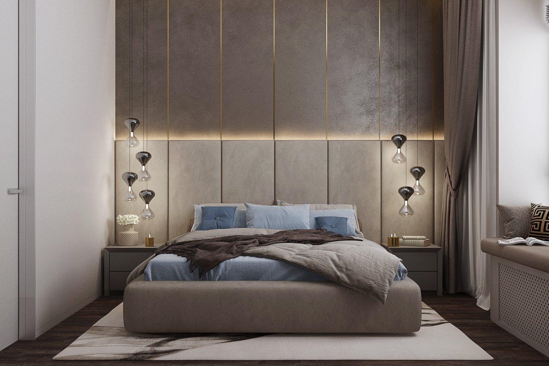Тканевые стеновые панели в дизайне изголовья кровати