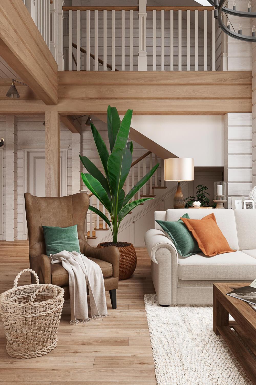 Дизайн уютной гостиной в доме из сруба