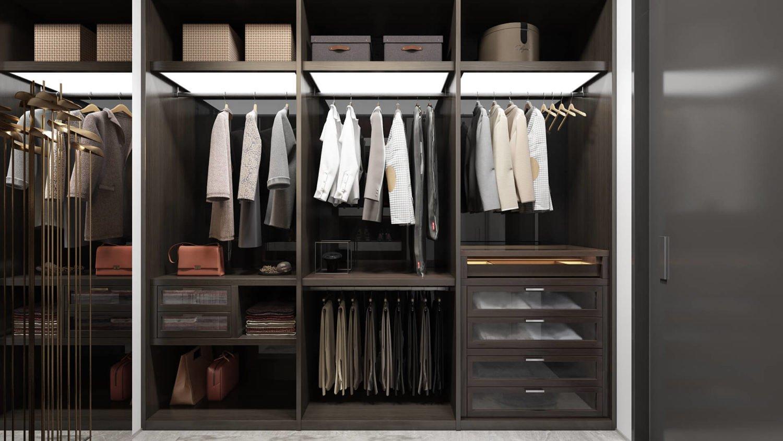 Интерьер гардеробной в гостевой спальне