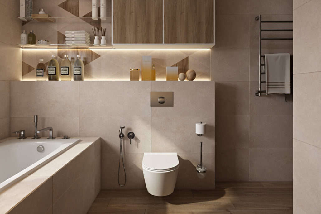 Светлая плитка в ванной комнате