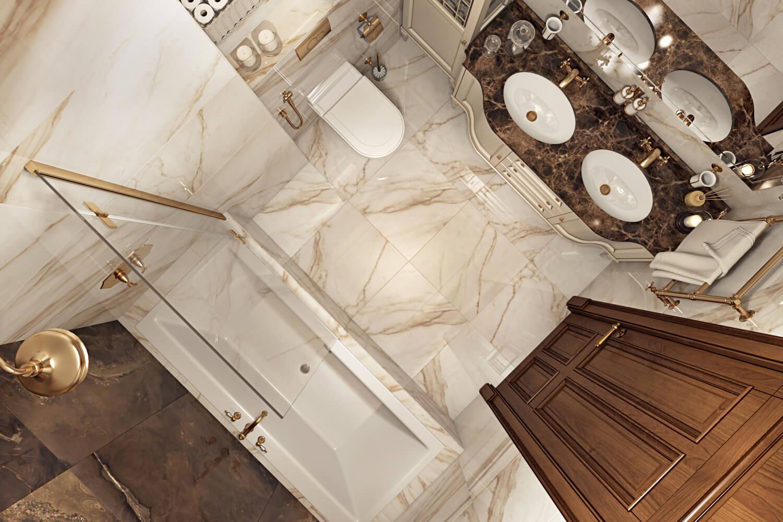 Плитка в ванной комнате под мрамор