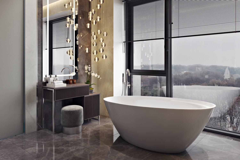Стильная плитка в просторной ванной