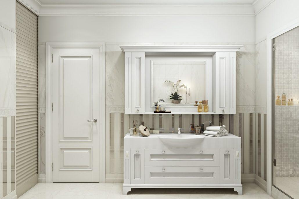 Интерьер ванной: плитка в светлых тонах