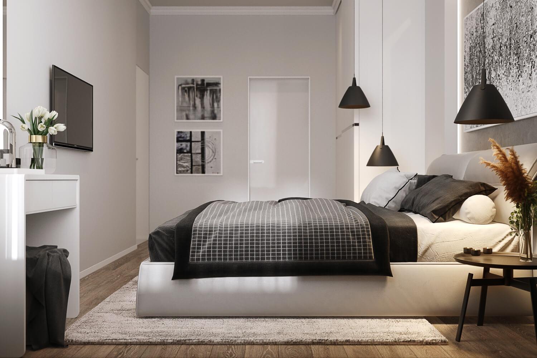 Стильная спальня после ремонта под ключ