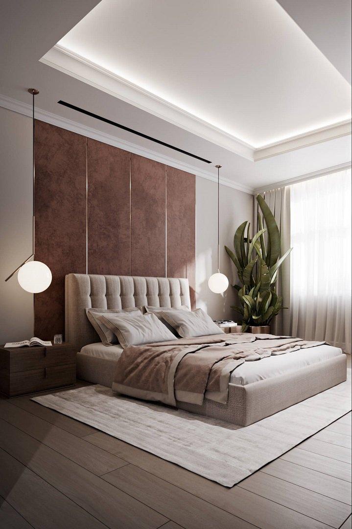 Спальня в бежевых тонах в стиле неоклассика