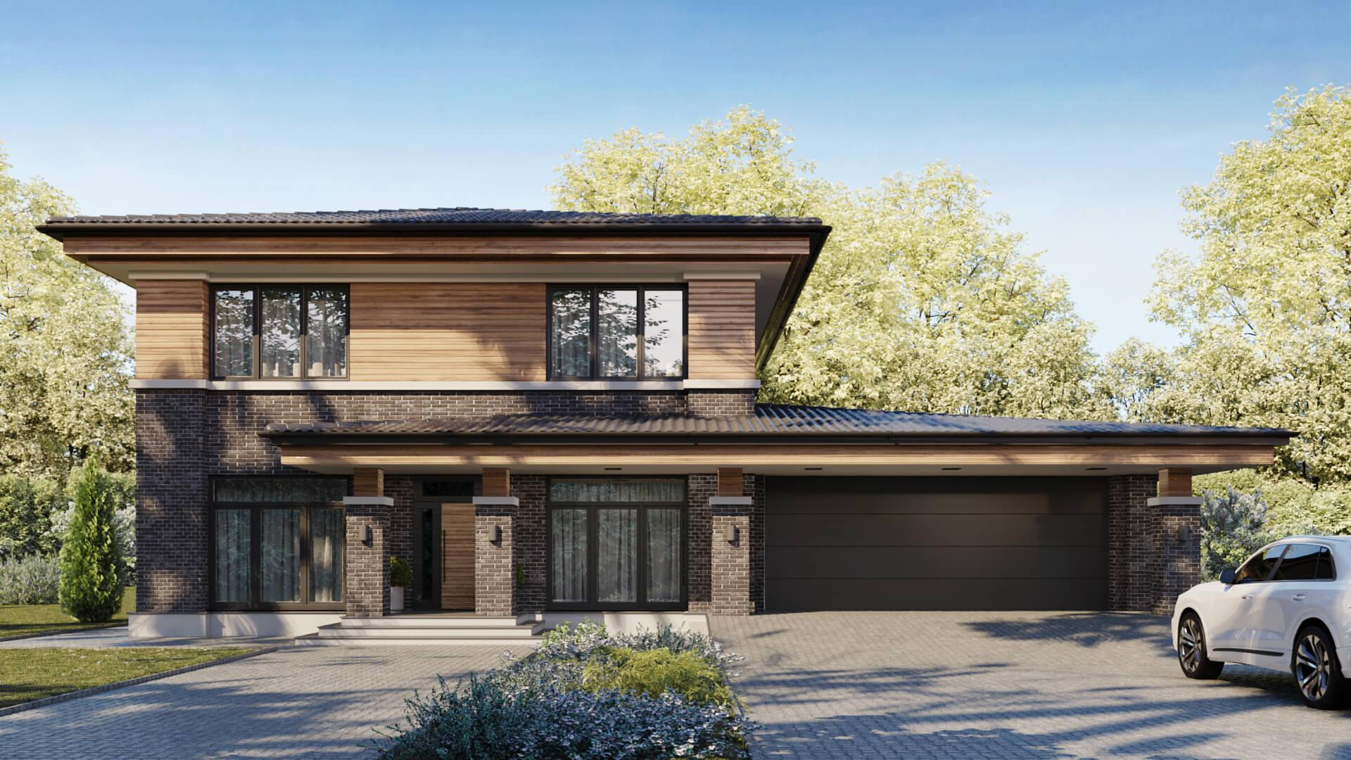 Дизайн экстерьера дома в живописной местности