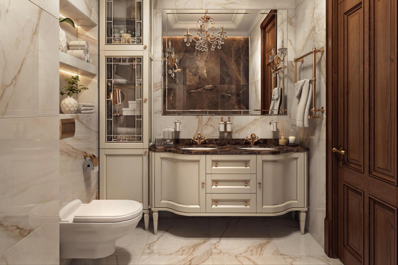 Освещение ванной комнаты в классическом стиле
