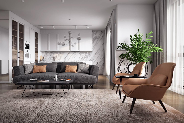 Живые растения в интерьере просторной гостиной