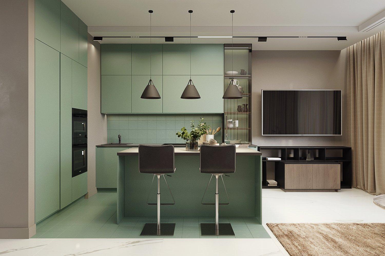 Дизайн-кухни гостиной в нежно-зеленом цвете