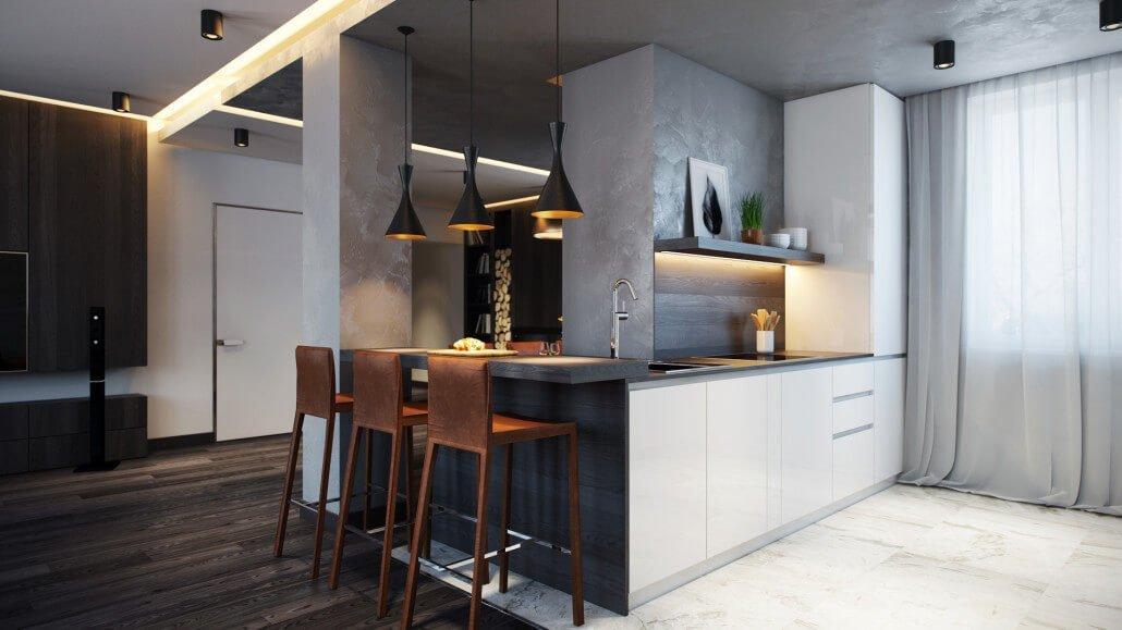 Стильный смеситель в современной кухне-студии