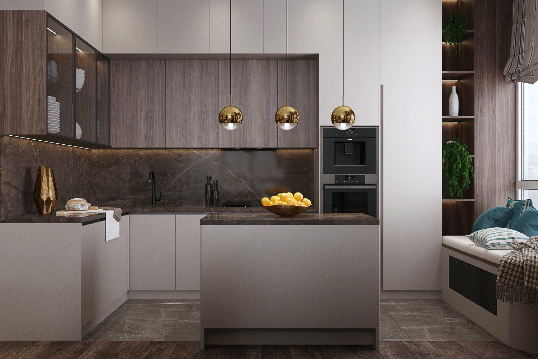 Черный смеситель в современной кухне-гостиной