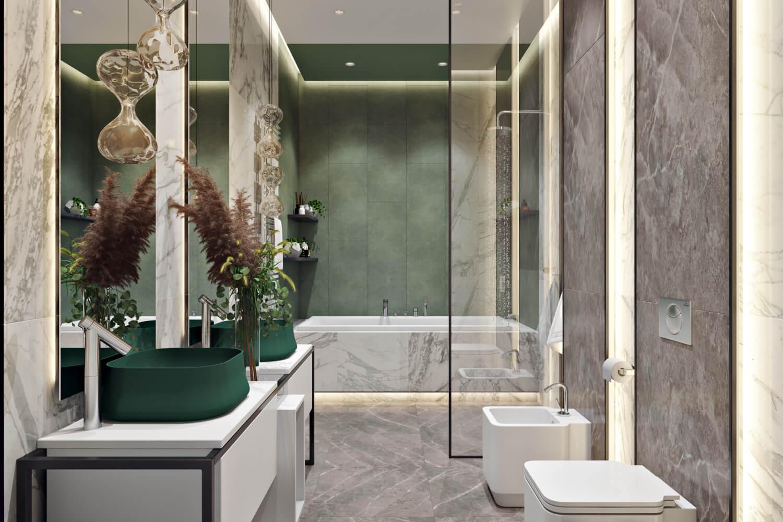 Удобный смеситель в просторной ванной