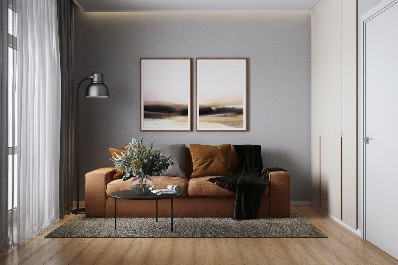 Гостиная с гладкими серыми стенами