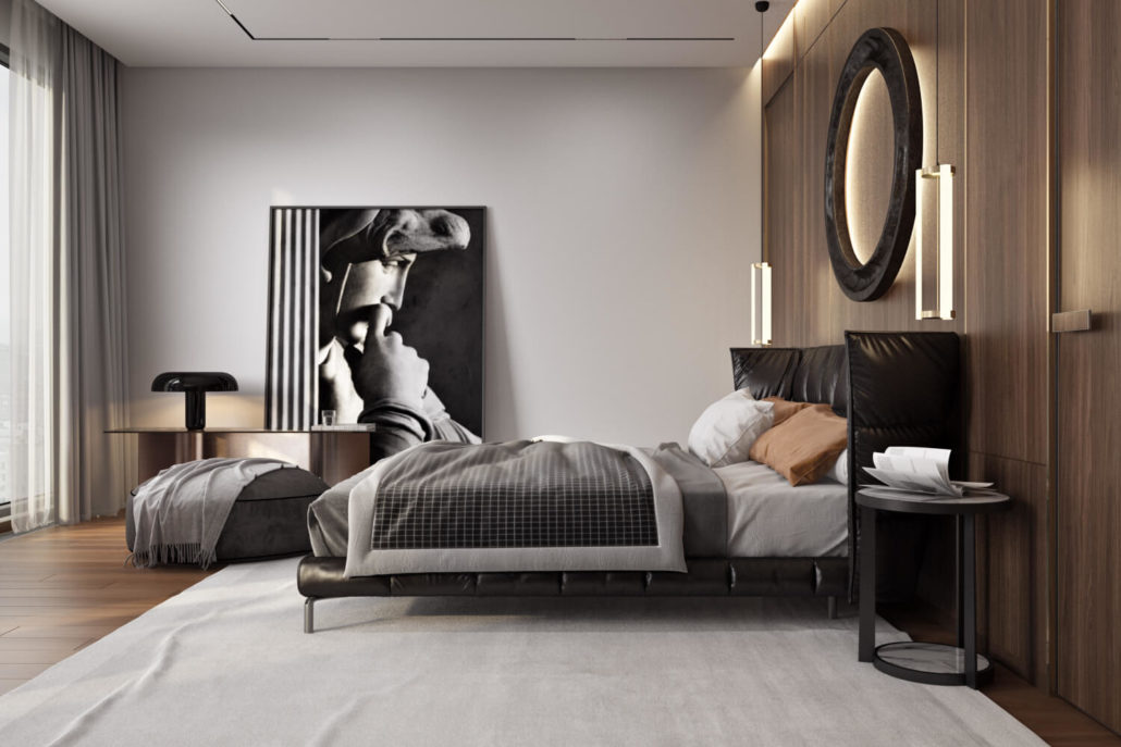Ровный одноуровневый потолок в спальне