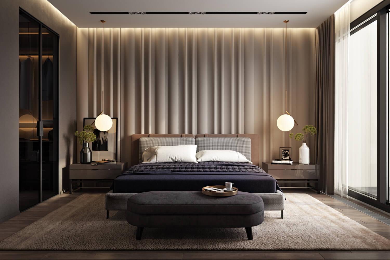 Спальня с многоуровневым освещением