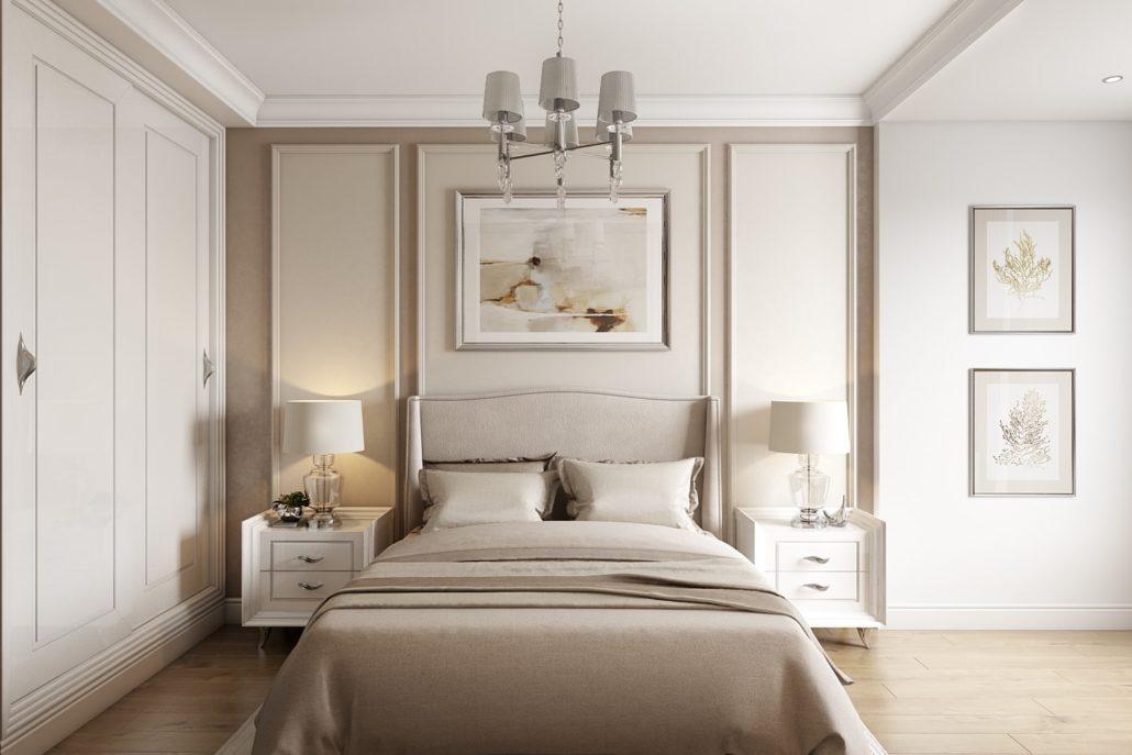 Спальня с плинтусом в цвет стены